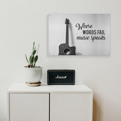 poster music speaks gitaar