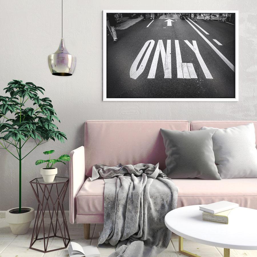 poster only road black & white