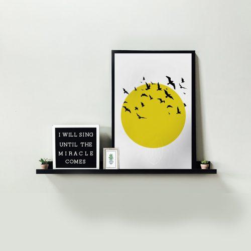 poster zon met vogels