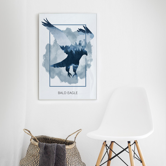 poster arend silhouet blauw