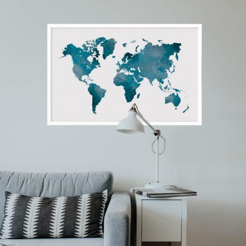 poster wereldkaart blauw