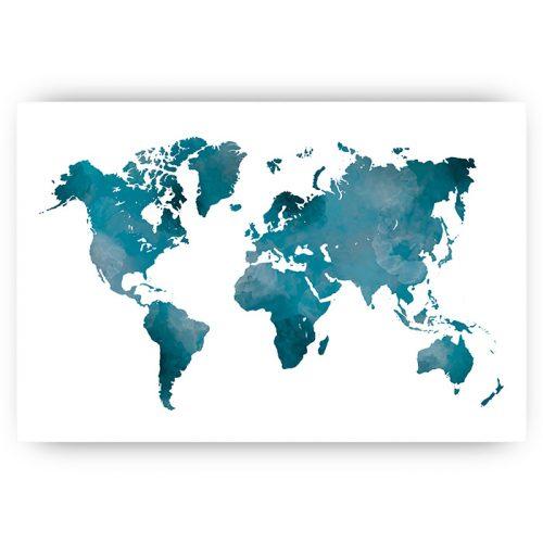 wereldkaart waterverf blauw