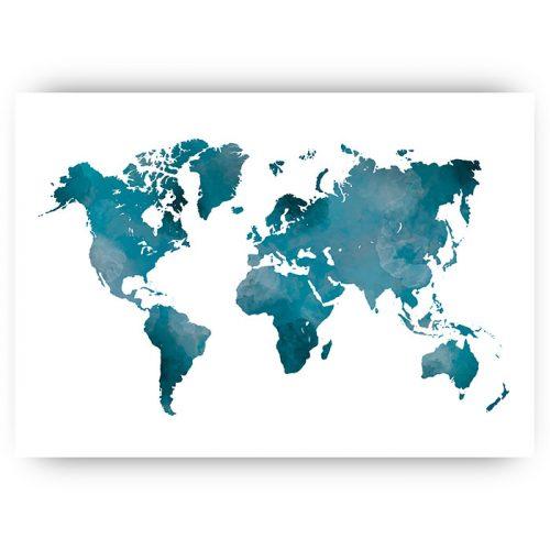 poster wereldkaart blauw aquarel