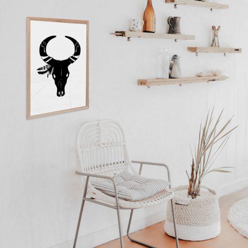 poster schedel met hoorns