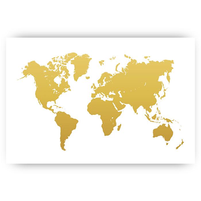 Wanddecoratie Wereldkaart Metaal.Poster Wereldkaart Goud Sfeer Aan De Muur