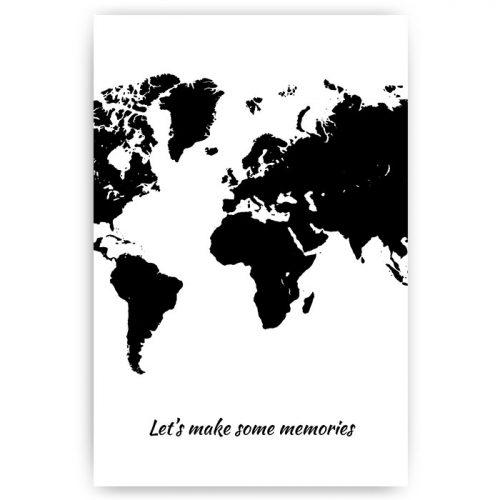 poster wereldkaart zwart