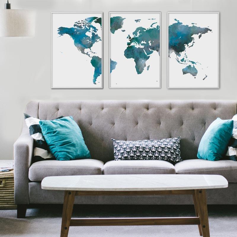 poster set wereldkaart blauw aquarel