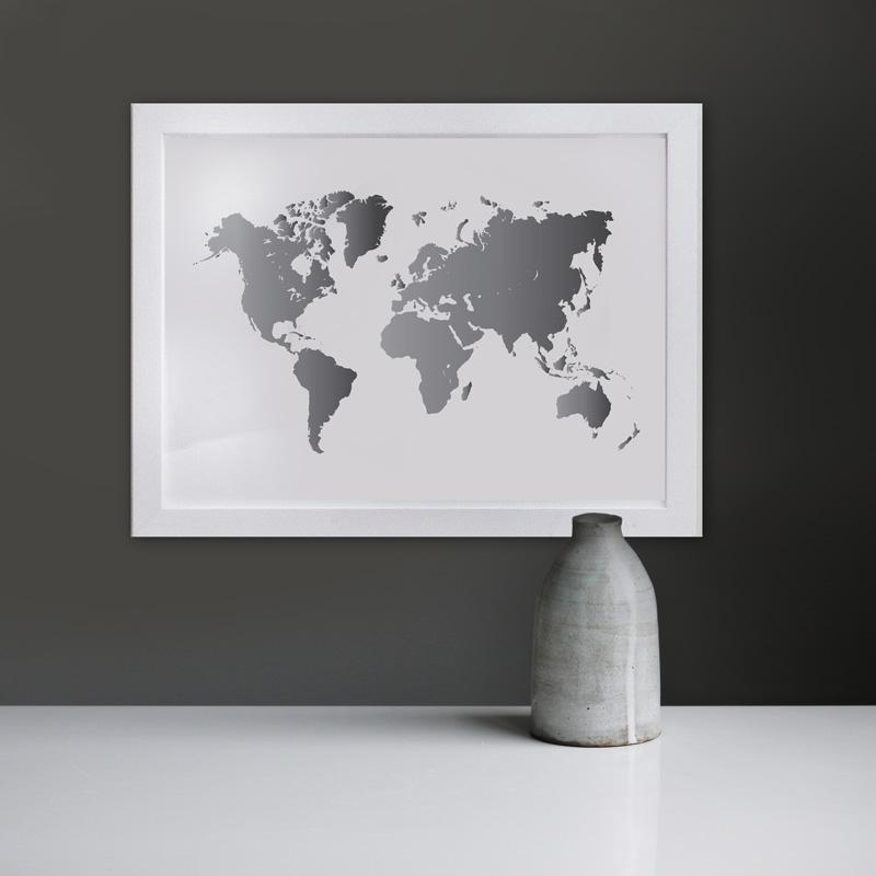 poster wereldkaart zilver