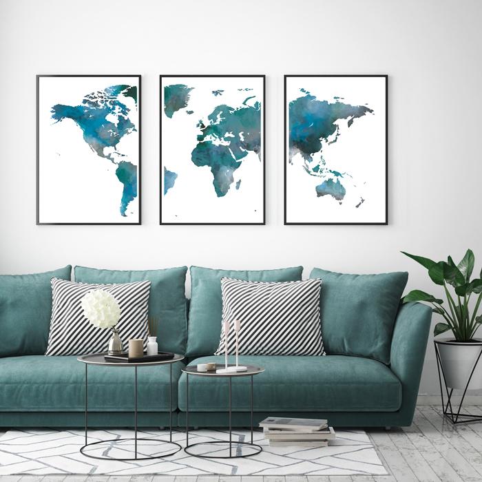 Posterset wereldkaart