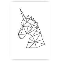 Muurposter gemoetrische unicorn