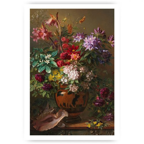 Muurposter klassiek bos bloemen