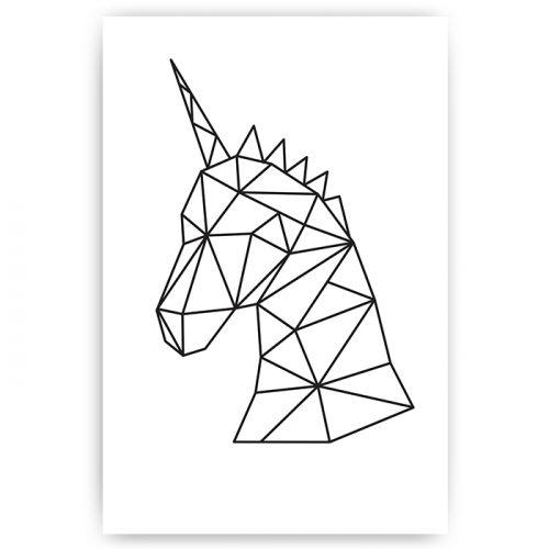 poster eenhoorn wit geometrisch