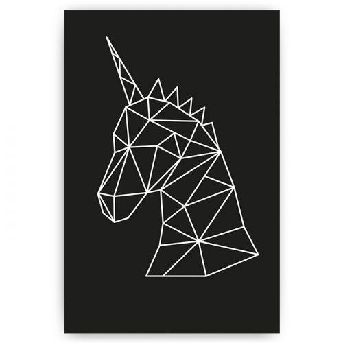 poster eenhoorn geometrisch