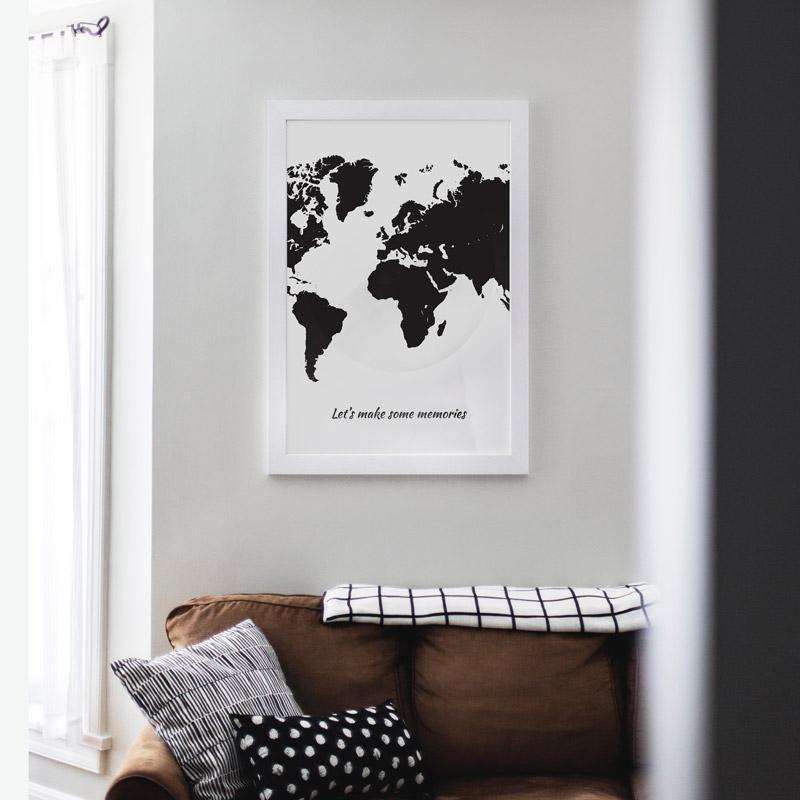 poster wereldkaart zwart memories