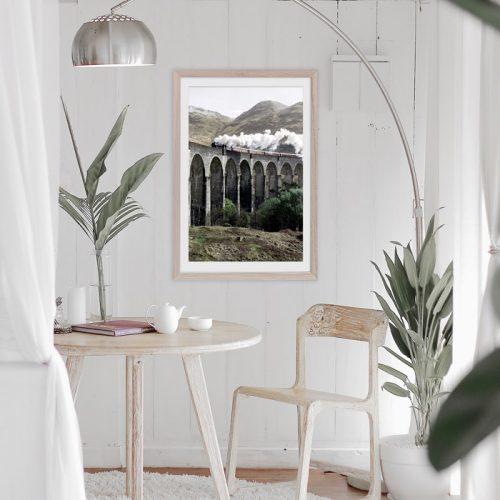 poster stoomtrein in landschap