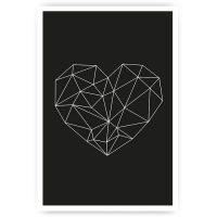 muurposter geometrisch zwevend hart