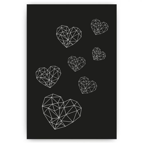 poster geometrisch patroon hartjes