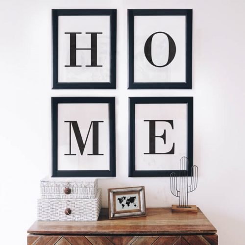poster set home letters marmer