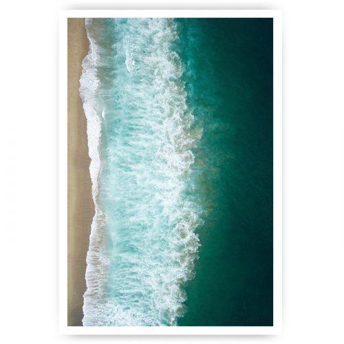 poster groene zee ruig met strand