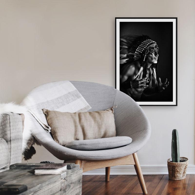 poster zwart wit indiaan