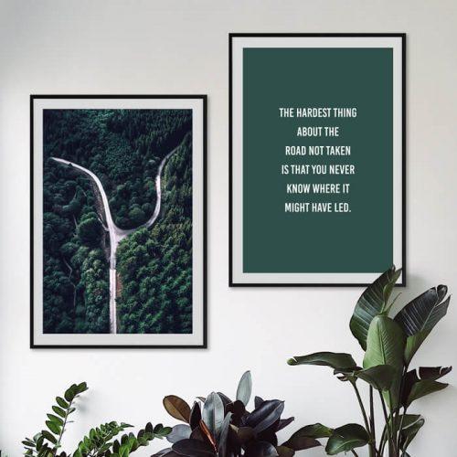 poster set bos weg quote groen