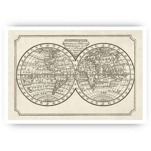 muurposter vintage wereldkaart