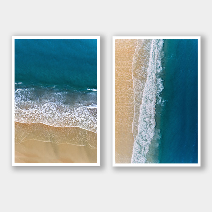 posterset blauwe zee met strand