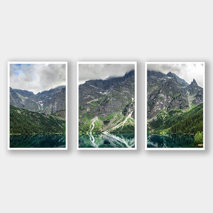 posterset landschap met bergen drieluik