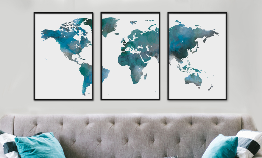 Beste Een wereldkaart poster: decoratief & symbolisch | Sfeer aan de Muur ES-26
