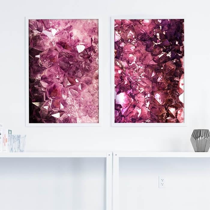 posterset paarse natuursteen