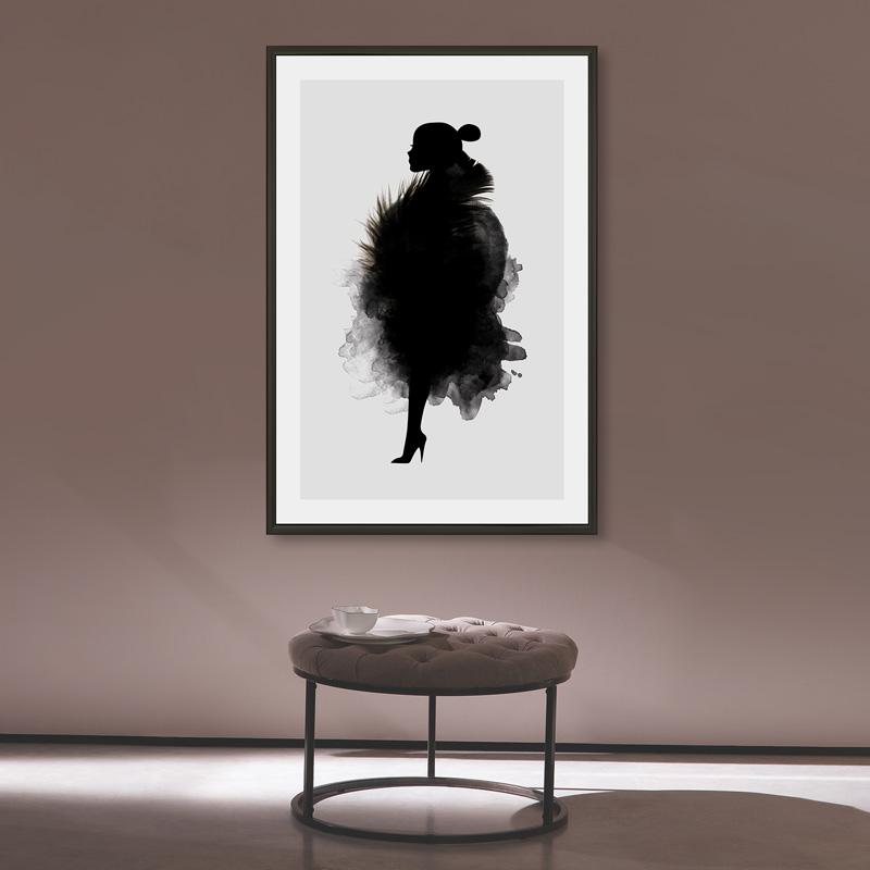 poster silhouet vrouw illustratie