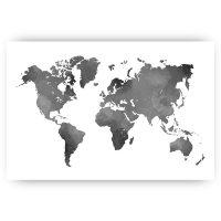 poster wereldkaart grijs