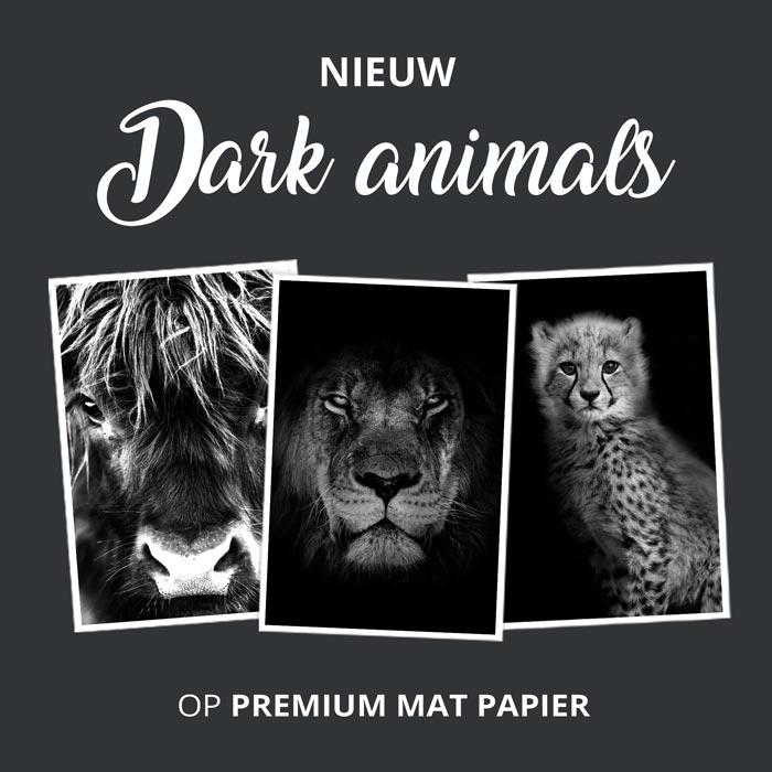dark animal portraits zwart wit posters