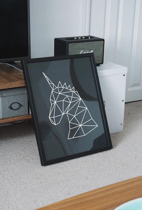 poster geometrische eenhoorn