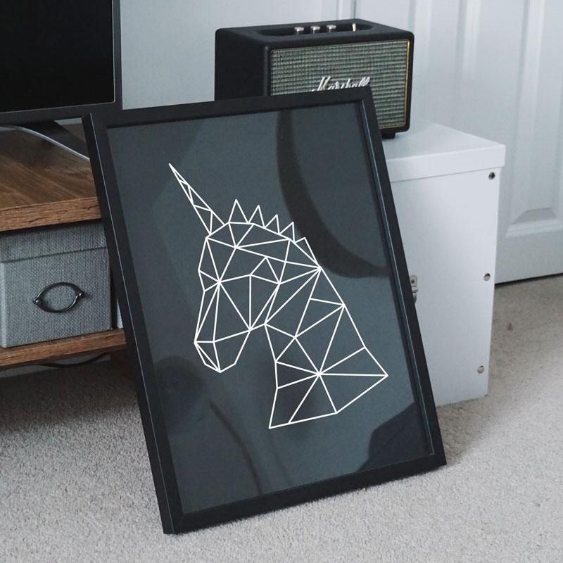 poster geometrisch eenhoorn