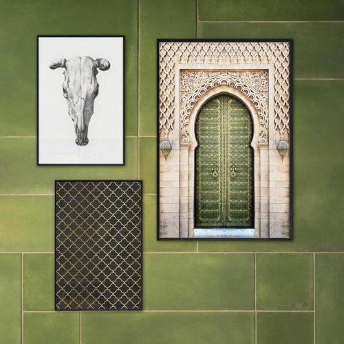 poster schedel, art deco patroon, deur