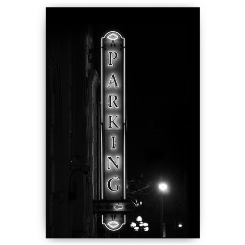 zwart wit vintage poster met parking sign
