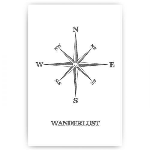poster kompas wanderlust