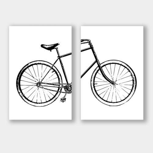 poster set met fiets