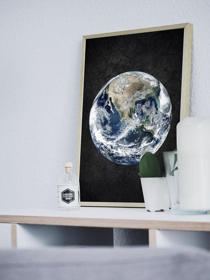 poster aarde zwart babykamer