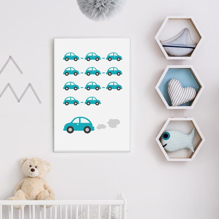 poster auto's babykamer