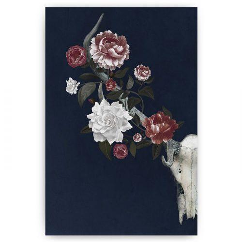 poster gewei met bloemen