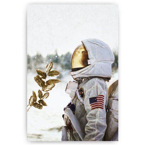 poster astronaut goud