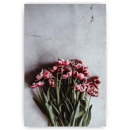 poster bos roze tulpen