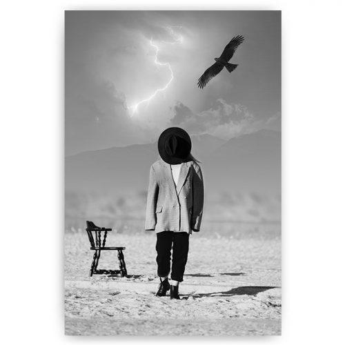 poster mens in landschap zwart wit