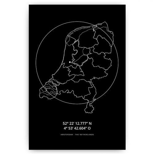 poster nederland landkaart amsterdam