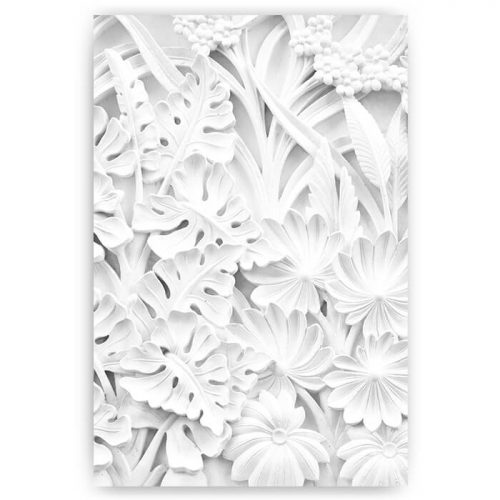 poster versteende bloemen wit