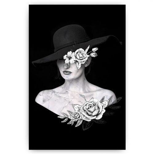 poster versteende vrouw met bloemen