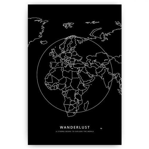 poster wanderlust wereldkaart