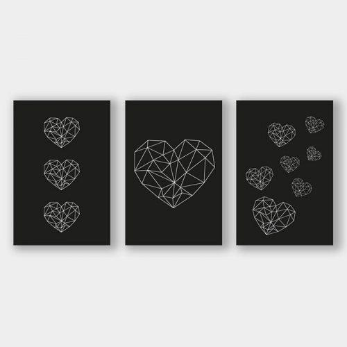 poster set geometrische hartjes